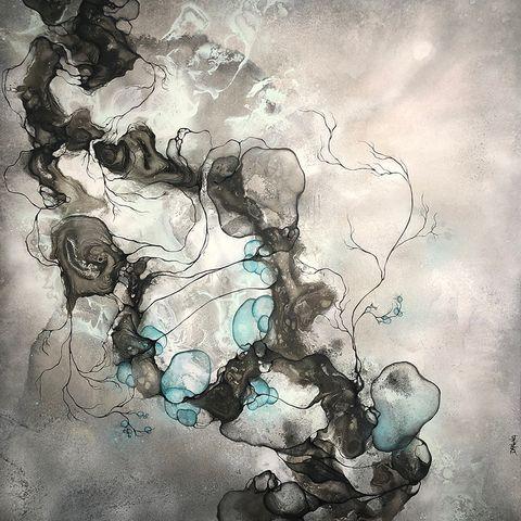 84cfe972 Stort moderne maleri til salg online i grå og blå farver af kunstner Rikke  Darling
